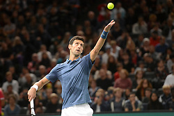 November 1, 2018 - Paris, France - NOVAK DJOKOVIC of Serbia during his third round match in the Rolex Paris Masters tennis tournament in Paris France. (Credit Image: © Christopher Levy/ZUMA Wire)