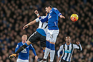 Ramiro Funes Mori (Everton) jumps for the ball during the Barclays Premier League match between Everton and Newcastle United at Goodison Park, Liverpool, England on 3 February 2016. Photo by Mark P Doherty.