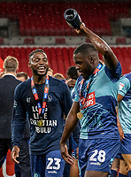 Wycombe Wanderers' Fred Onyedinma  and Nnamdi Ofoborh (right) celebrate <br /> <br /> Photographer Andrew Kearns/CameraSport<br /> <br /> Sky Bet League One Play Off Final - Oxford United v Wycombe Wanderers - Monday July 13th 2020 - Wembley Stadium - London<br /> <br /> World Copyright © 2020 CameraSport. All rights reserved. 43 Linden Ave. Countesthorpe. Leicester. England. LE8 5PG - Tel: +44 (0) 116 277 4147 - admin@camerasport.com - www.camerasport.com
