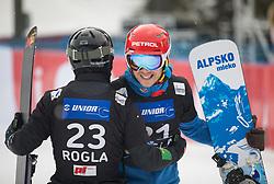 Mastnak Tim and Košir Žan during the men's Snowboard giant slalom of the FIS Snowboard World Cup 2017/18 in Rogla, Slovenia, on January 21, 2018. Photo by Urban Meglic / Sportida