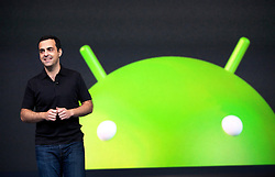 Hugo Barra, product management director of Android, introduces Google's new Android software Jelly Bean during the keynote speech at  the Google I/O Developer Conference in San Francisco, California.
