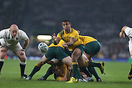 Will Genia of Australia hooks the ball away from the scrum. Rugby World Cup 2015 pool A match, England v Australia at Twickenham Stadium in London, England  on Saturday 3rd October 2015.<br /> pic by  John Patrick Fletcher, Andrew Orchard sports photography.
