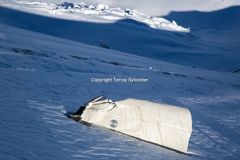 Debris from a plane crash lies in the snow on the Cooper Spur on Thursday, January 31, 2019, on Mount Hood, Oregon. The pilot, George Regis, 63, died in the crash while reportedly flying from his home in Battleground, Washington, to Arizona.
