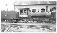 """RGS 2-8-0 #3 parked in Durango.<br /> RGS  Durango, CO  Taken by Rogers, Donald E. A. - 1930-1939<br /> In book """"RGS Story, The Vol. XII: Locomotives and Rolling Stock"""" page 19<br /> See RD155-013 for cropped copy."""