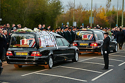 © Licensed to London News Pictures.  08/11/2011. CARTERTON, UK. Colleagues of Lt Edward Drummond-Baxter and L/Cpl Siddhanta Kunwar, both of 1st Battalion The Royal Gurkha Rifles, attached to 40 Commando Royal Marines pay their respects during a repatriation ceremony. The ceremony takes place three days before the Remembrance Sunday. Photo credit :  Cliff Hide/LNP