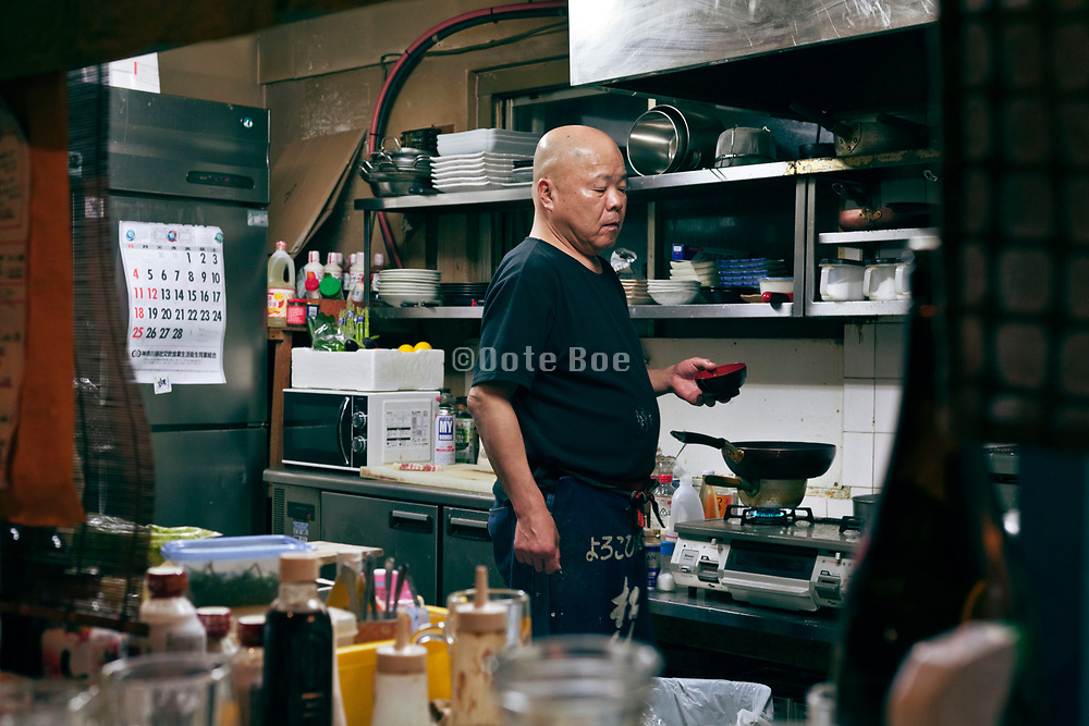 kitchen in a Japanese sake bar style restaurant
