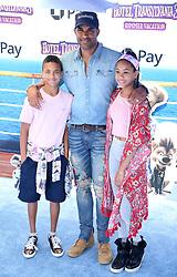 "Boris Kodjoe with his son Nicolas Kodjoe and his daughter Sophie Kodjoe at the premiere of ""Hotel Transylvania 3: Summer Vacation"" held at the Westwood Village Theatre in Los Angeles"