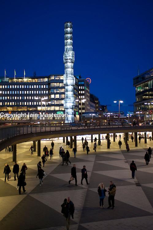 Evening view of Sergels Torg square in central Stockholm Sweden 2009