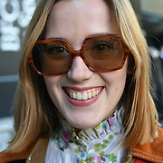Mary Anne Costello attend London Fashion Week SS19 street photography at the Strand, London, UK. 17 September 2018.