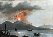 Vesuvius during one of its early 19th century eruptions viewed from the Bay of Naples, Italy.  In centre foreground fishermen are using flare to attract their catch. Aquatint c1815 .