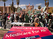 22 FEBRUARY 2011 - PHOENIX, AZ:  AFSCME workers at the State Capitol in Phoenix Tuesday. Hundreds of people including supporters of immigrants' rights, supporters of border defense, motorcycle riders and members of the Tea Party, converged on the capitol to express their views on bills.       PHOTO BY JACK KURTZ