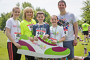 NO FEE PICTURES<br /> 19/5/18 Hundreds of people of all ages lapped up the summer sunshine when they came out to support an important cause which is close to many of their hearts, organ donation, by taking part in the Irish Kidney Association's 'Run for a Life' family fun run which took place at Corkagh Park, Clondalkin, Dublin 22 on Saturday 19th May.   (www.runforalife.ie) Pictured Rebecca Casey 16, mum Alison, liver transplant, Aaron 14, Sorcha 11, Peter, Clane. Picture:Arthur Carron
