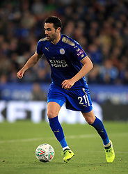 """Leicester City's Vicente Iborra during the Carabao Cup, third round match at the King Power Stadium, Leicester. PRESS ASSOCIATION Photo. Picture date: Tuesday September 19, 2017. See PA story SOCCER Leicester. Photo credit should read: Mike Egerton/PA Wire. RESTRICTIONS: EDITORIAL USE ONLY No use with unauthorised audio, video, data, fixture lists, club/league logos or """"live"""" services. Online in-match use limited to 75 images, no video emulation. No use in betting, games or single club/league/player publications."""