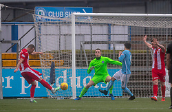 East Fife's Kevin Smith misses a chance. Forfar Athletic 3 v 0 East Fife, Scottish Football League Division One game played 2/3/2019 at Forfar Athletic's home ground, Station Park, Forfar.