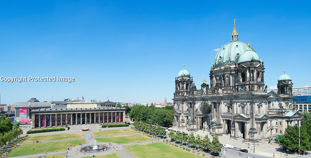 view of Altes Museum and Berlin Cathedral or Dom at Lustgarten on Museum Island or Museumsinsel In Berlin Germany