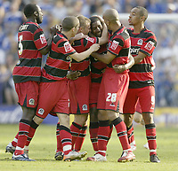 Photo: Aidan Ellis.<br /> Leicester City v Queens Park Rangers. Coca Cola Championship. 15/09/2007.<br /> QPR players congratulate late equalising goal scorer Mikele Leigertwood