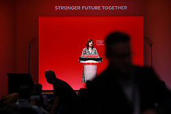 © Licensed to London News Pictures. 26/09/2021. Brighton, UK. Shadow housing minister LUCY POWELL speaks at the conference . The second day of the 2021 Labour Party Conference , which is taking place at the Brighton Centre . Photo credit: Joel Goodman/LNP