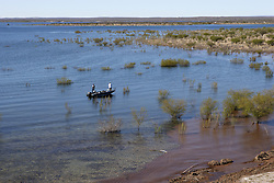Fishing at Amistad Reservoir, near Del Rio, Texas.
