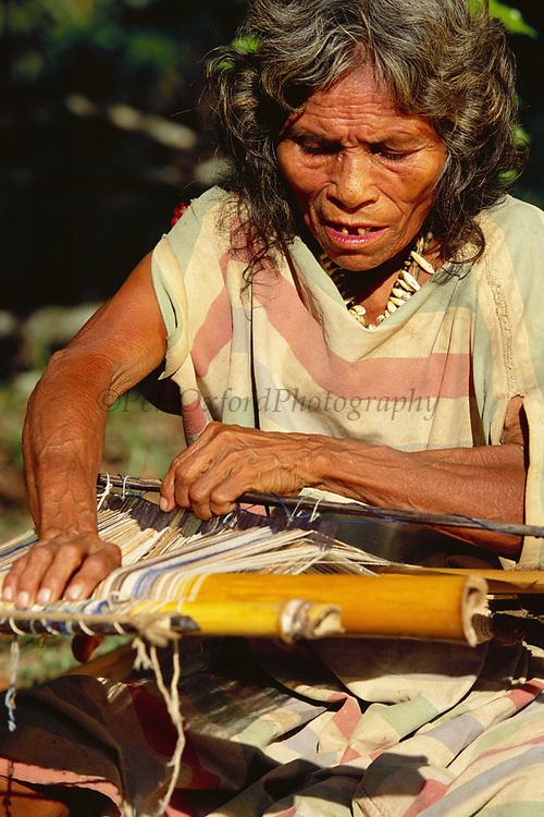 Machiguenga Indian Weaving Kushma<br />Robe worn by these Indians<br />Timpia Community, Lower Urubamba River<br />Amazon Rain Forest, PERU.  South America