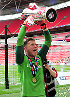 Football - 2018 / 2019 EFL Sky Bet League One Play-Off Final - Sunderland vs. Charlton<br /> <br /> Charlton's goalkeeper Dillon Phillips celebrates with the trophy at Wembley Stadium.<br /> <br /> COLORSPORT/ANDREW COWIE