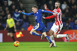 Jamie Vardy of Leicester City (L) scores his sides second goal - Mandatory byline: Jack Phillips/JMP - 23/01/2016 - FOOTBALL - King Power Stadium - Leicester, England - Leicester City v Stoke City - Barclays Premier League