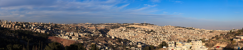 Panoramic afternoon view of Jerusalem from the Haas Promenade (Tayelet), located in the Talpiot neighborhood southeast of the city center. WATERMARKS WILL NOT APPEAR ON PRINTS OR LICENSED IMAGES.
