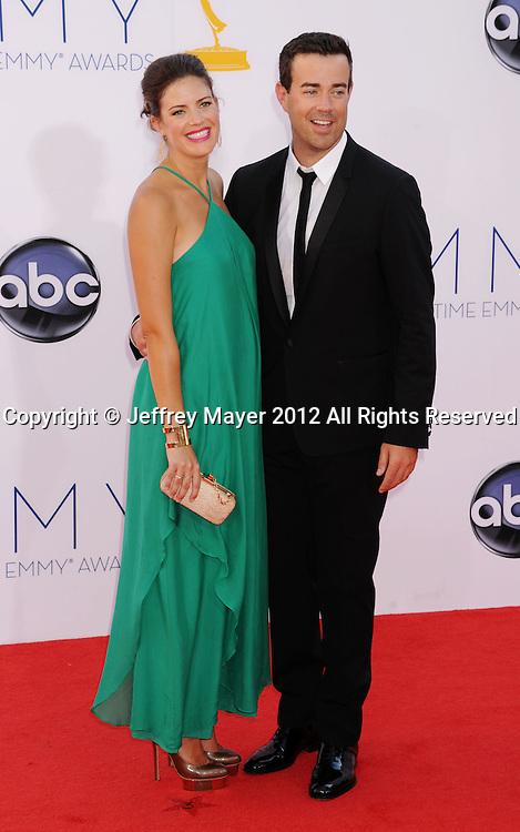 LOS ANGELES, CA - SEPTEMBER 23: Carson Daly and Siri Pinter arrive at the 64th Primetime Emmy Awards at Nokia Theatre L.A. Live on September 23, 2012 in Los Angeles, California.