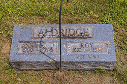 Stouts Grove Cemetery<br /> <br /> Anna Reed Aldridge 1900-1974<br /> Roy Aldridge 1892-1957 WWI Veteran