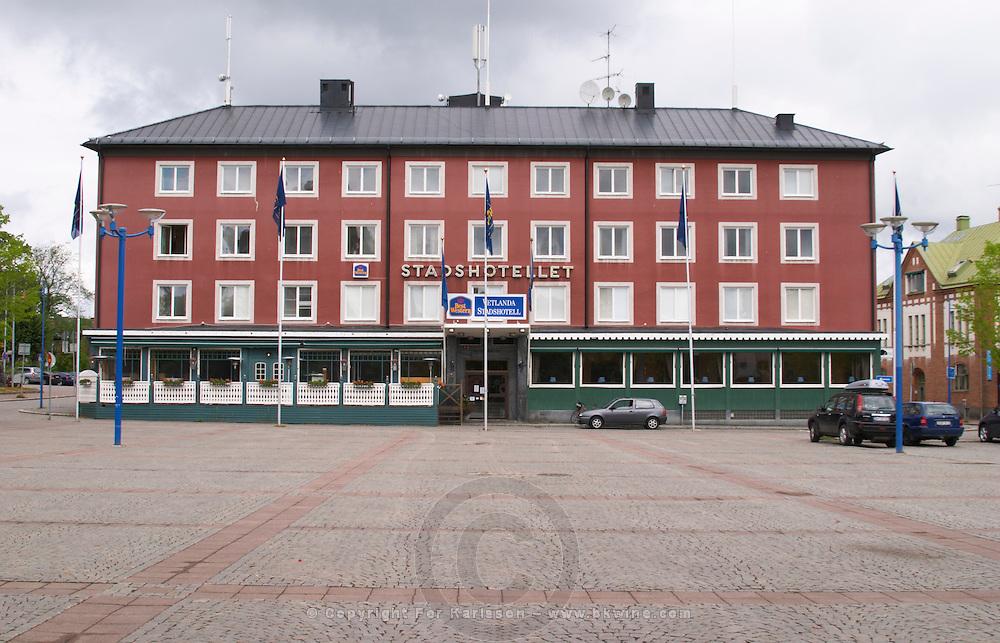 The Stadshotellet hotel in typical 1950s dreary style. Vetlanda, Smaland region. Sweden, Europe.