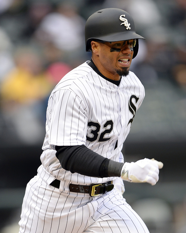 CHICAGO - APRIL 04:  Jacob May #32 of the Chicago White Sox runs toward first base against the Detroit Tigers on April 04, 2017 at Guaranteed Rate Field in Chicago, Illinois.  The Tigers defeated the White Sox 6-3.  (Photo by Ron Vesely)   Subject:  Jacob May
