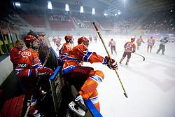 Players of Jesenice celebrate after winning the ice-hockey match between HK Acroni Jesenice and KHL Medvescak Zagreb in 8th Round of EBEL league, on October 3, 2010 at Arena Podmezakla in Jesenice, Slovenia.  Acorni Jesenice defeated Medvescak 3-2. (Photo By Vid Ponikvar / Sportida.com)