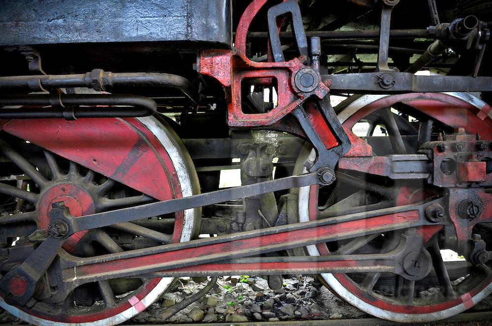 Wheels of a steam engine in Dalat train station, Vietnam, Asia