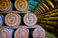 France, Martinique, Le François, Domaine de l'Acajou, habitation Clément, distillerie Clément, chais à barrique pour le vieillissement du rhum vieux // France, West Indies, Martinique, Le François, Domaine de l'Acajou, Habitation Clément, Distillery Clément, barrel cellars for aging old rum