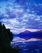 Pioneer Peak, Goat Mountain and Twin Peaks of the Chugach Mountains reflected in Reddy Lake, Palmer Hay Flats, Matanuska Valley, Alaska.