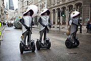 Fish on Segway two wheelers. The Lord Mayor's Show, one of the longest-established annual events, dating back to the 16th century. Held within the City of London, UK.