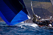 Velsheda sailing in the Windward Race at the Antigua Classic Yacht Regatta.