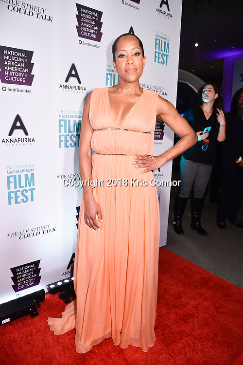 """WASHINGTON, DC - OCTOBER 27: Actress Regina Hall attends  the closing night screening of """"IF BEALE STREET COULD TALK"""" at the inaugural Smithsonian African American Film Festival 2018 at National Air and Space Museum in Washington DC on October 27th, 2018. (Photo by Kris Connor/Annapurna Pictures)"""