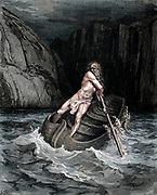 Machine colorized with Artificial Intelligence (AI) Charon the Ferryman crossing the River Achero From the Divine Comedy by 14th century Italian poet Dante Alighieri. 1860 artwork, by French artist Gustave Dore and engraved by Stephane Pannemaker, from 'The Vision of Hell' (1868), Cary's English translation of the Inferno. Dante wrote his epic poem 'Divina Commedia' (The Divine Comedy) between 1308 and his death in 1321. Consisting of 14,233 lines, and divided into three parts (Inferno, Purgatorio, and Paradiso), it is considered the greatest literary work in the Italian language and a world masterpiece. It is a comprehensive survey of medieval theology, literature and thought. The new non-dialect poetic language Dante created became the basis of modern Italian.