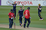 Hampshire all-rounder Gareth Andrew (centre no number) celebrate the wicket of Essex all-rounder Tom Westley during the Royal London One Day Cup match between Hampshire County Cricket Club and Essex County Cricket Club at the Ageas Bowl, Southampton, United Kingdom on 5 June 2016. Photo by David Vokes.
