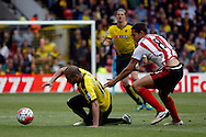 Jack Rodwell of Sunderland (right)  fouls  Adlène Guédioura of Watford (left). Barclays Premier league match, Watford v Sunderland at Vicarage Road in Watford, London on Sunday 15th May 2016.<br /> pic by Steffan Bowen, Andrew Orchard sports photography.