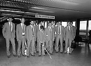 Olympic Competitors Depart for Moscow..1980-07-14.14th July 1980.14/07/1980.07-14-80..Photographed at Dublin Airport...Olympic Competitors Depart for Moscow..1980-07-14.14th July 1980.14/07/1980.07-14-80..Photographed at Dublin Airport...Some of the Irish Olympics team and their Chief de Mission and other officials prepare to fly out to Moscow for the Olympic Games.