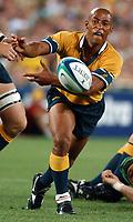 Photo. Steve Holland.Australia v New Zealand, Semi-final at the Telstra Stadium, Sydney. RWC 2003.<br />15/11/2003.<br />Australian Captian George Gregan
