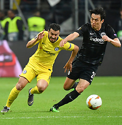 FRANKFURT May 3, 2019  Pedro Rodriguez (L) of Chelsea vies with Hasebe Makoto of Frankfurt during the UEFA Europa League semifinal first leg match between Eintracht Frankfurt and Chelsea FC in Frankfurt, Germany, on May 2, 2019. The match ended in a 1-1 draw. (Credit Image: © Ulrich Hufnagel/Xinhua via ZUMA Wire)