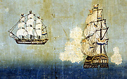 Dutch Ship (Orandasen): Two views, side and rear, of a Dutch sailing vessel. On the right the vessel is firing her guns.  Japanese print 1850-1900.  Transport Marine Trade Europe Netherlands Japan