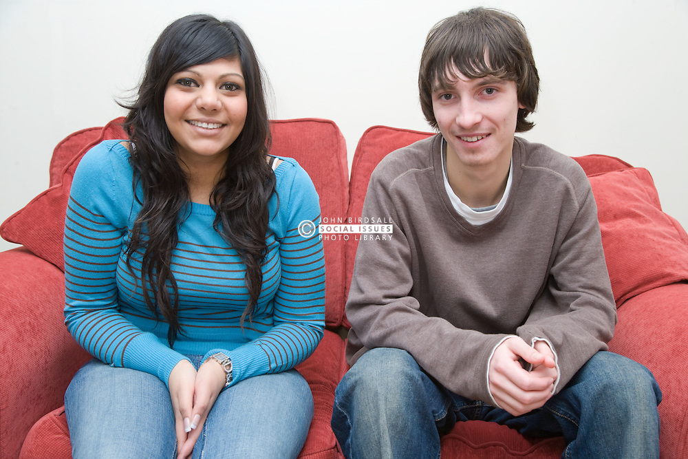 Portrait of two teenagers smiling,
