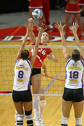 06 October 2007:  Laura Rowen and Danielle Brazda team up to attempt a block on a ball struck by Kari Staehlin. The Illinois State Redbirds pulled out a photo finish in a match that saw the 4th and 5th games extend into extra point play. Northern Iowa Panthers visited the Illinois State Redbirds at Redbird Arena on the campus of Illinois State University in Normal Illinois.