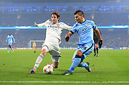 Mario Fernandes of CSKA and Sergio Aguero of Manchester City - Manchester City vs. CSKA Moscow - UEFA Champions League - Etihad Stadium - Manchester - 05/11/2014 Pic Philip Oldham/Sportimage