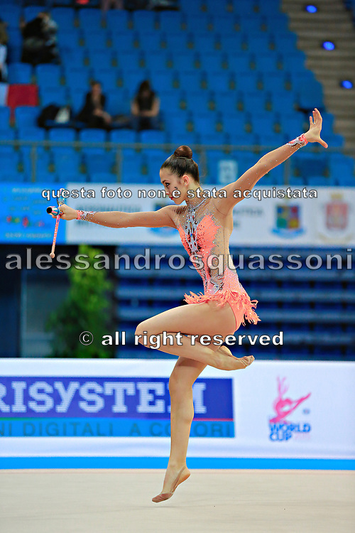 Berezina Polina during qualifying clubs in Pesaro World Cup 11 April 2015.<br /> Polina Berezina is a Spanish individual rhythmic gymnast of Russian origin was born in Moscow in Russia on December 5, 1997, she has been living in Spain near Alicante for some years, her team is Club Torrevieja and she is coached by Mónica Ferrández.