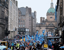 All Under One Banner March, Edinburgh, 5 October 2019<br /> <br /> Pictured: Marchers make their way towards the Meadows<br /> <br /> Alex Todd | Edinburgh Elite media