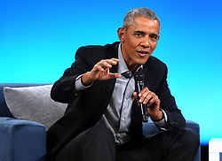 November 19, 2018 - Chicago, IL, USA - Former U.S. President Barack Obama speaks to attendees at the second Obama Foundation summit at the Mariott Marquis hotel in Chicago on Monday, Nov. 19, 2018. (Credit Image: © Terrence Antonio James/Chicago Tribune/TNS via ZUMA Wire)
